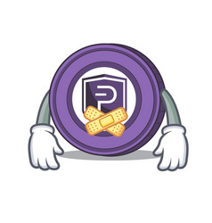 Silent pivx coin mascot cartoon vector