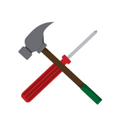 Simple screwdriver hammer cross drawing graphic vector