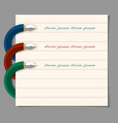Stylized colored writing pen design for vector image vector image
