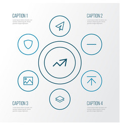 User outline icons set collection of remove send vector