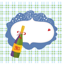 Bottle of champagne and frame vector
