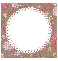 colored flowers background with white emblem icon vector image