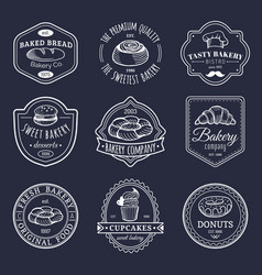 Set of vintage bakery logos retro emblems vector