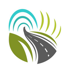 Road going forward and turning with greenery on vector