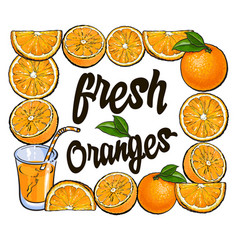 Square frame of oranges and juice with place for vector