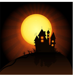 Castle horror on top of the mountain happy vector