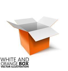White and orange open box 3d vector