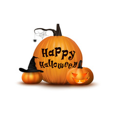 Two pumpkin with hat background vector