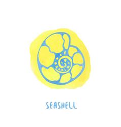 Sea shell on watercolor splash background hand vector