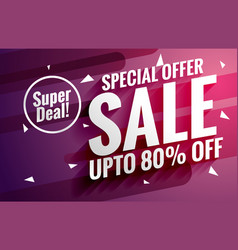 Purple sale banner design template for business vector