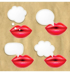 Red lips set with speech bubbles vector