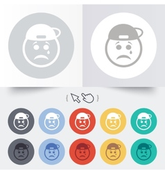 Sad rapper face with tear icon crying symbol vector