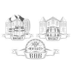 Set and badges whiskey vector