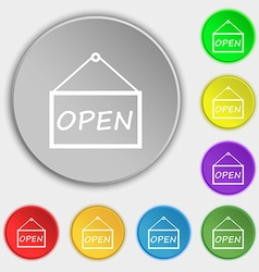 Open icon sign symbols on eight flat buttons vector