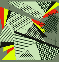 Abstract geometric collage green pattern vector