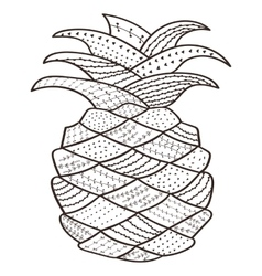 Adult coloring book page pineapple whimsical line vector