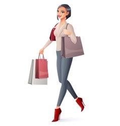 beautiful brunette lady walking with vector image vector image