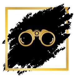 binocular sign golden icon vector image