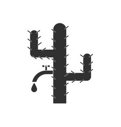 Black icon on white background cactus with crane vector