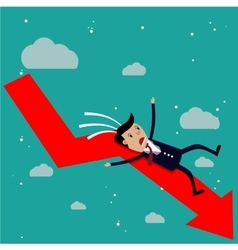 cartoon businessman falling from the red chart vector image