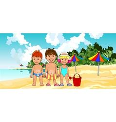 Children on the beach vector