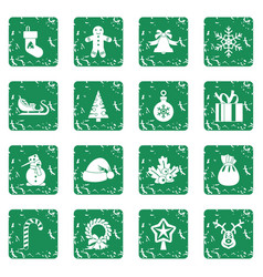 Christmas icons set grunge vector