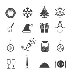 christmas new year party icons set vector image vector image