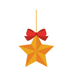 Christmas star with bow decoration icon isolated vector