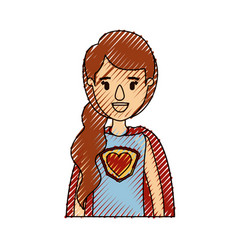 Color crayon stripe caricature half body super vector