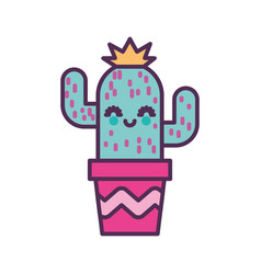 Cute cactus in pot kawaii character vector