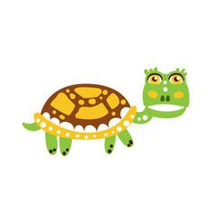 cute green turtle character walking vector image