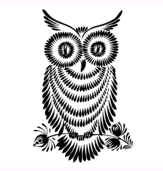 Decorative silhouette of a owl vector