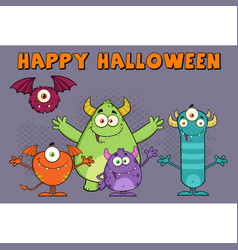 Funny monsters cartoon characters vector