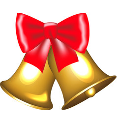 golden bells with bow vector image vector image