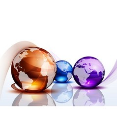 Graphic background with color globes vector image