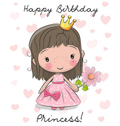 Happy birthday card with little princess vector