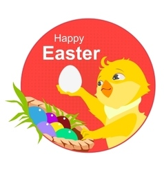 Happy easter Yellow chicken and easter eggs vector image vector image