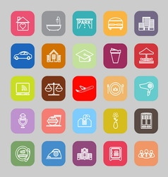 Hospitality business line flat icons vector