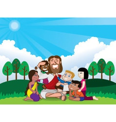 Jesus and kids vector