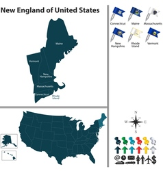 Map of New England vector image