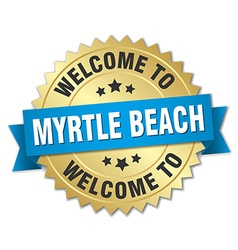 Myrtle beach 3d gold badge with blue ribbon vector