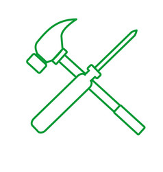 Outline screwdriver hammer cross drawing graphic vector