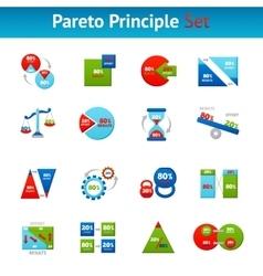 Pareto principle flat icons set vector image vector image