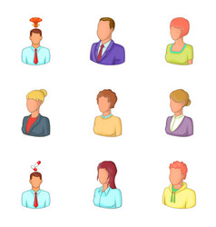 Personage icons set cartoon style vector