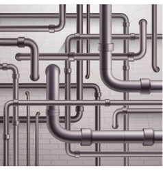Pipeline on brick wall background vector