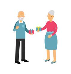 senior man and beautiful senior woman giving gifts vector image vector image