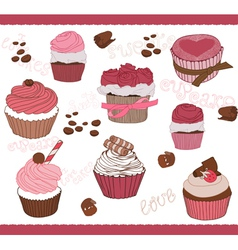 Set of cute cupcakes for design vector