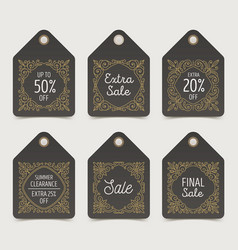 Set of flourishes pattern decorated sale tags vector