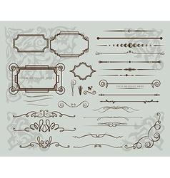 set of vintage calligraphic elements vector image