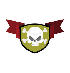 Skull and shield crossed bones and skeleton head vector